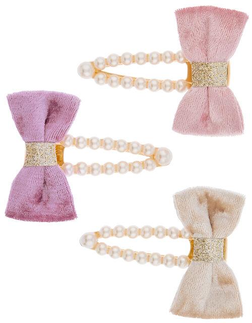 Velvet Bow Pearly Hair Clip Set, , large
