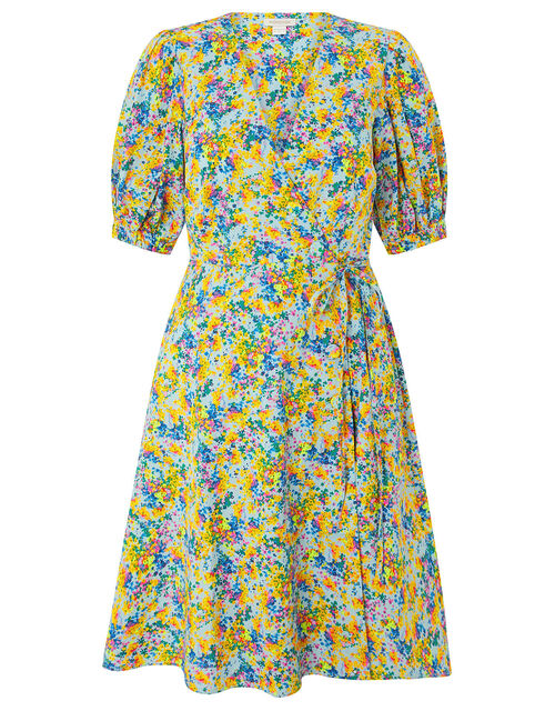 Louis Floral Poplin Dress in Organic Cotton, Blue (BLUE), large