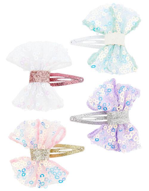 Sequin Bow Hair Clip Set, , large