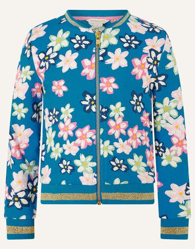 Bold Floral Bomber Jacket Blue, Blue (BLUE), large