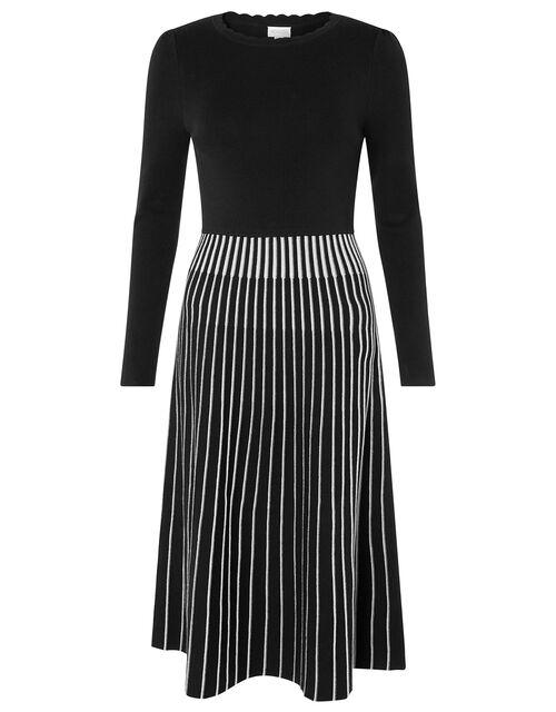 Monochrome Pleated Skirt Dress, Blue (NAVY), large