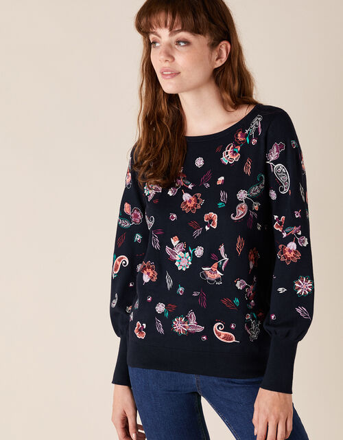 Paisley Embroidered Jumper with Sustainable Viscose, Blue (NAVY), large