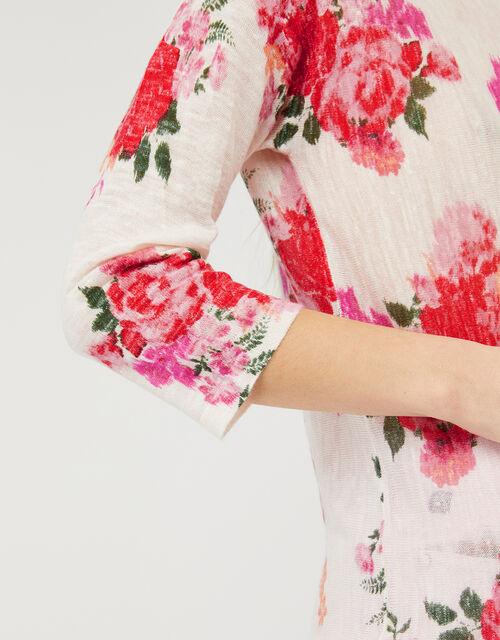 Leah Floral Jumper in Linen Blend, Multi (MULTI), large