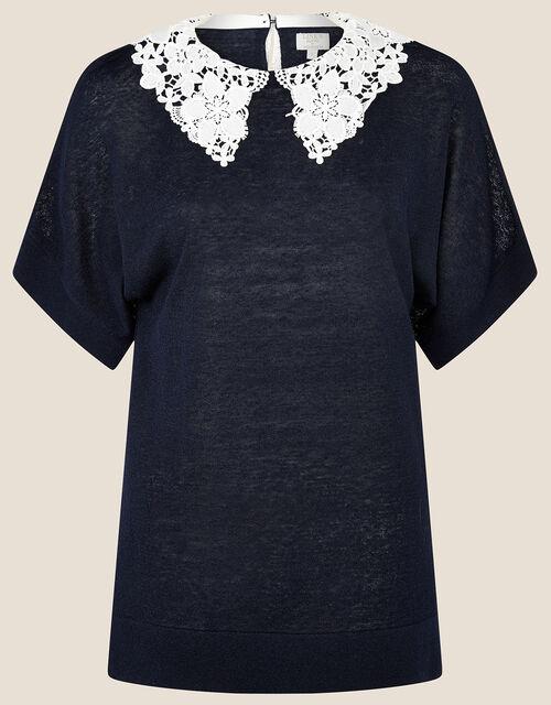 Short Sleeve Collar Jumper in Linen Blend, Blue (NAVY), large