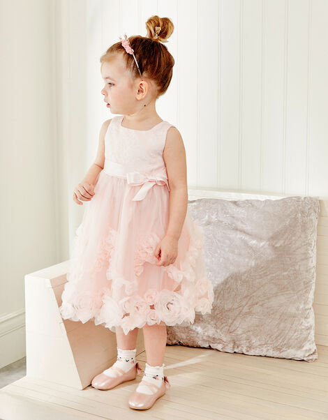 Baby Rosette Lace Dress Pink, Pink (PALE PINK), large