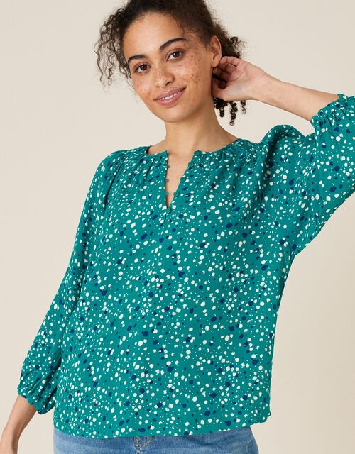Printed Button Front Blouse Green