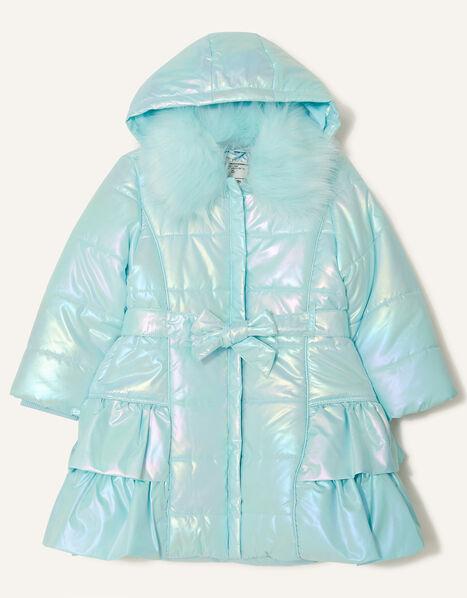 Holographic Frill Hooded Coat Blue, Blue (AQUA), large