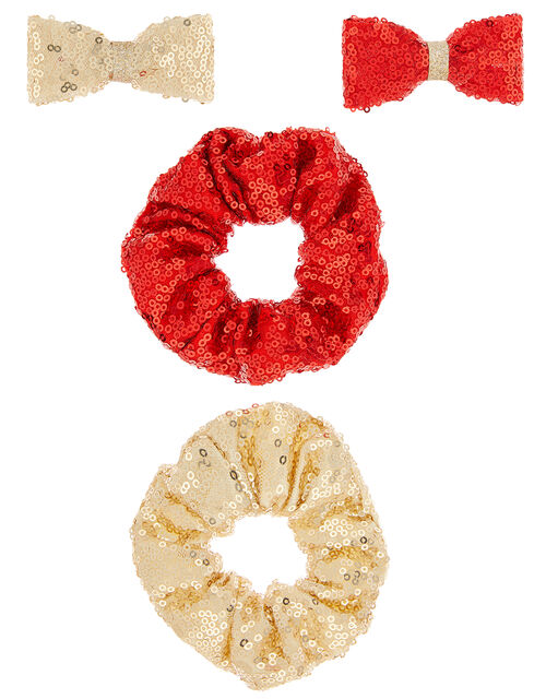 Sequin Bow and Hair Scrunchie Set, , large