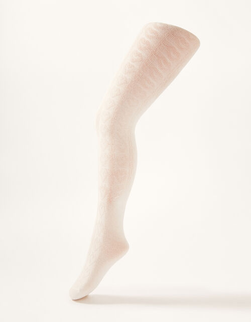 Cable Knit Tights with Natural Bamboo Fibres, Ivory (IVORY), large