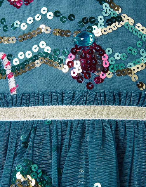 XMAS Sequin Tree Disco Dress, Teal (TEAL), large