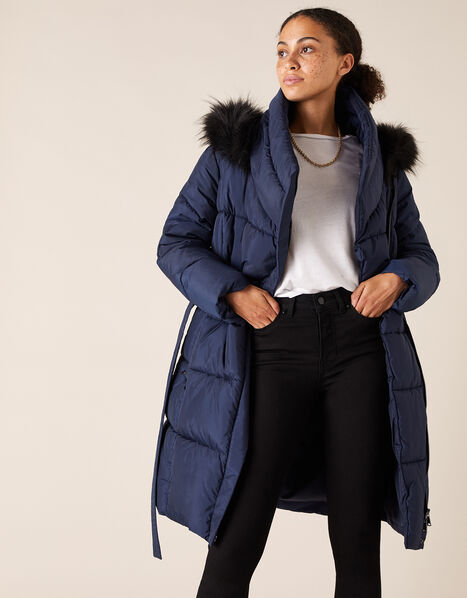 Patsy Long Padded Coat in Recycled Fabric Blue, Blue (NAVY), large