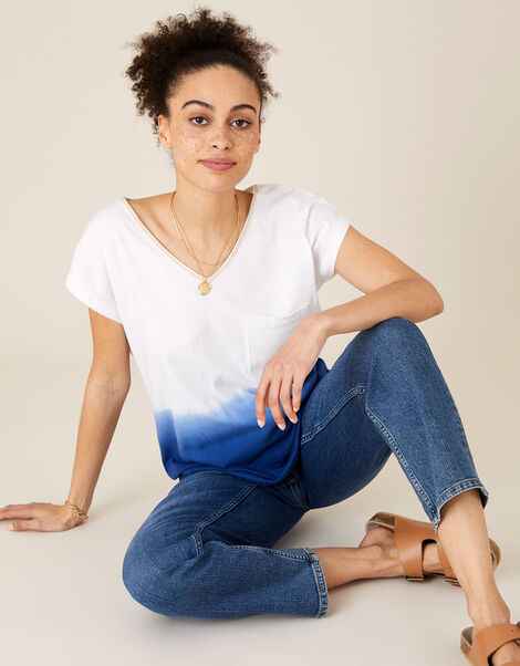 Deea Dip Dye T-Shirt in Organic Cotton Blue, Blue (BLUE), large