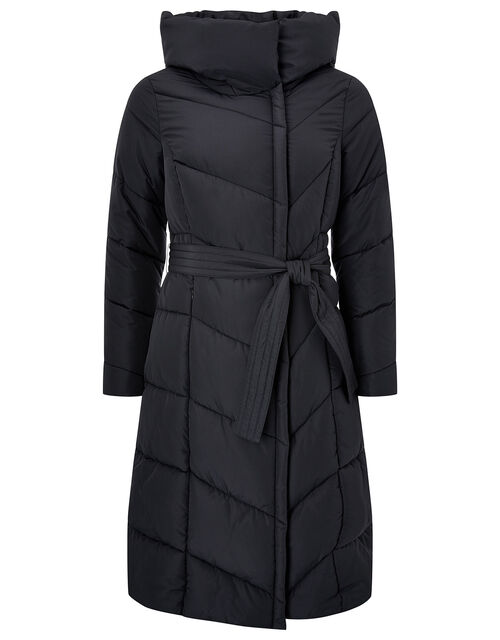 Bettina Long Padded Coat in Recycled Fabric, Black (BLACK), large