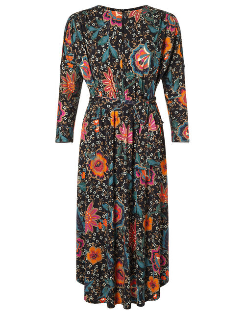 Velvet Trim Floral Jersey Midi Dress, Green (GREEN), large