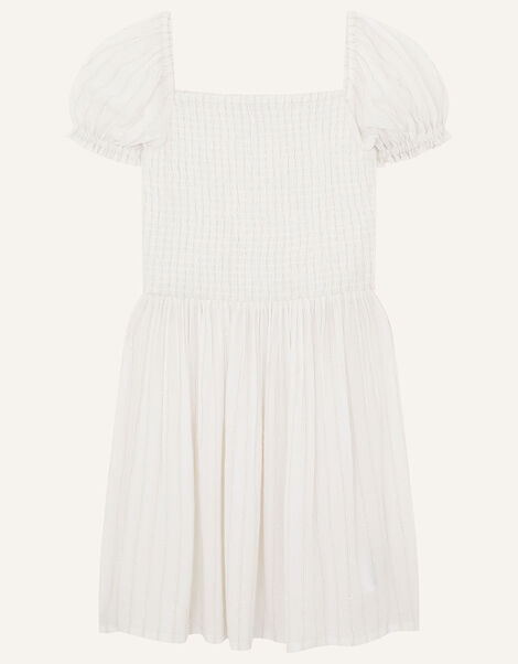 Shimmer Puff Sleeve Dress Natural, Natural (IVORY), large