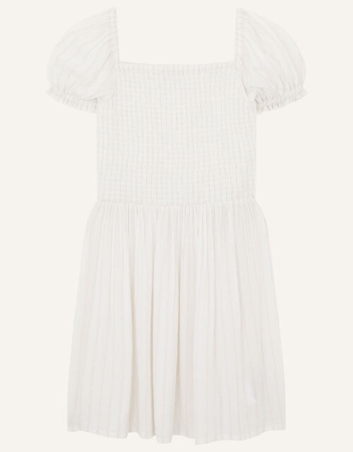 Shimmer Puff Sleeve Dress, Natural (IVORY), large