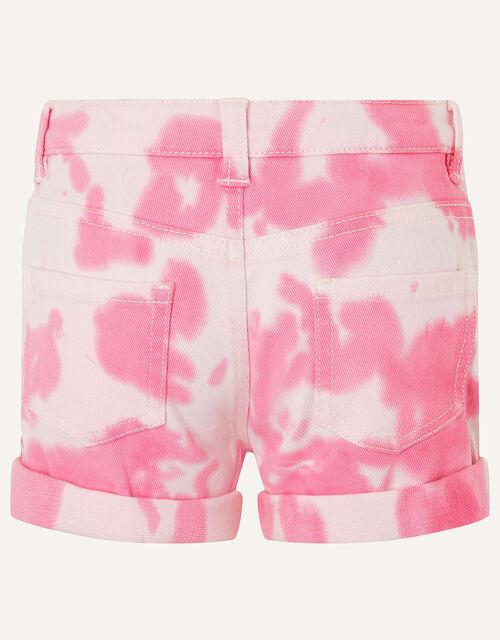 Tie Dye Denim Shorts, Pink (PINK), large