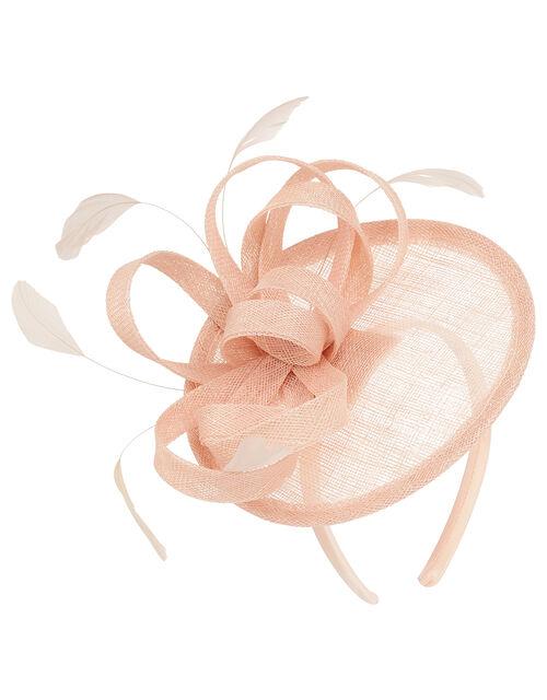 Malin Bow Disc Feather Fascinator, Pink (BLUSH), large
