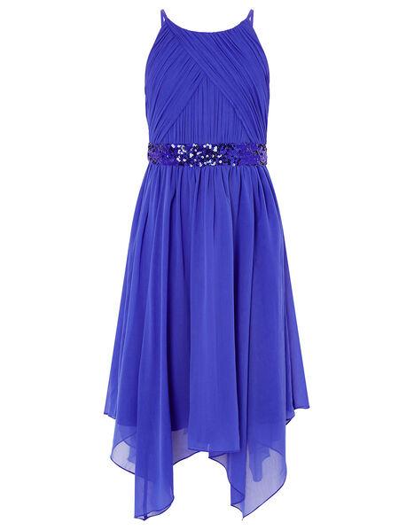 Chiffon Hanky Hem Prom Dress Blue, Blue (BLUE), large