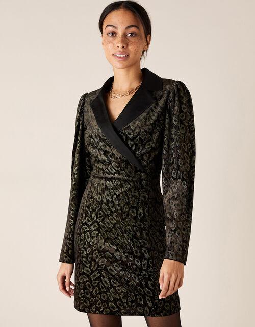 Nieve Leopard Nailhead Blazer Dress, Black (BLACK), large