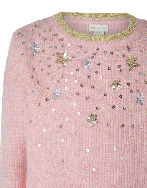 Sequin Star Knit Jumper, Pink (PINK), large
