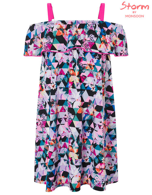 Eliza Bardot Printed Dress in Recycled Polyester, Black (BLACK), large