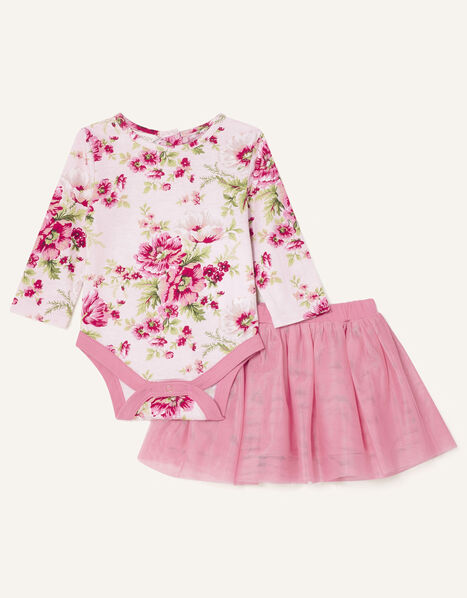Newborn Floral Bodysuit and Skirt Pink, Pink (PINK), large