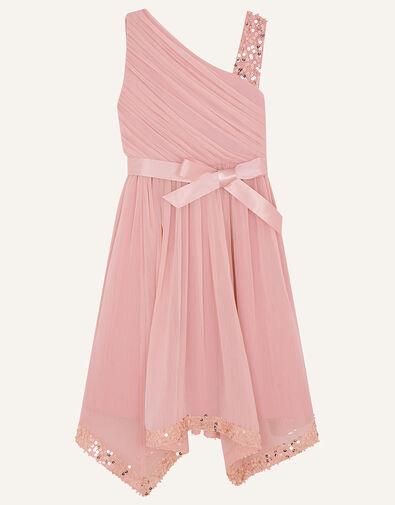 One-Shoulder Sequin Dress Pink, Pink (PINK), large