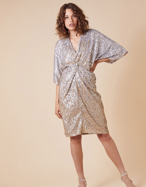Samba Sequin-Embellished Dress with Twist Front, Gold (GOLD), large