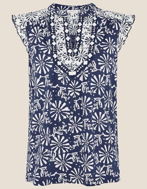 Calli Printed Sleeveless Top, Blue (NAVY), large