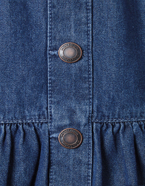Frill Hem Denim Skirt in Organic Cotton, Blue (BLUE), large
