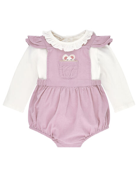 Newborn Baby Mouse Cord Romper Set Purple, Purple (LILAC), large
