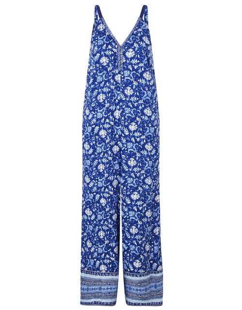 Billie Printed Jumpsuit in LENZING™ ECOVERO™ , Blue (BLUE), large