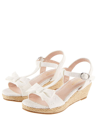 Broderie Wedge Sandals Ivory, Ivory (IVORY), large