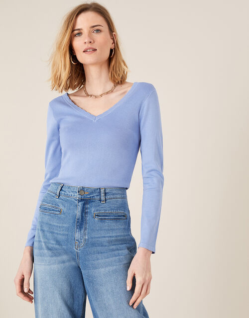 Scallop Jumper with Sustainable Viscose, Blue (BLUE), large