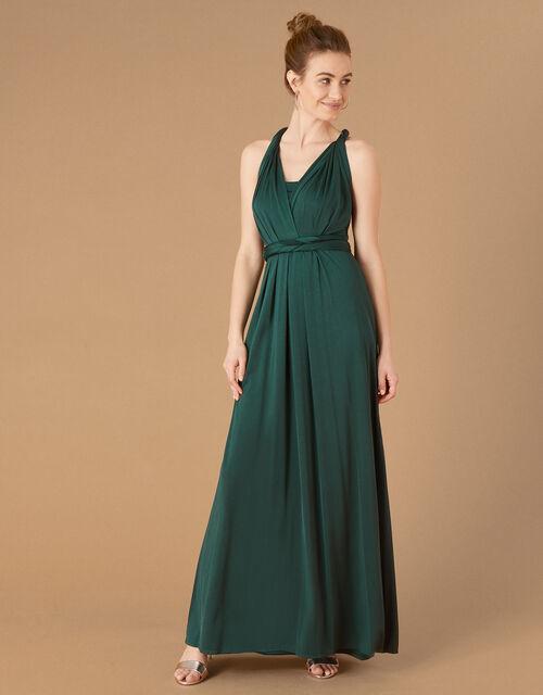 Tallulah Twist Me Tie Me Jersey Bridesmaid Dress, Green (DARK GREEN), large
