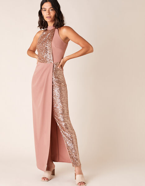 Kaitlyn Sequin Panel Stretch Maxi Dress Pink, Pink (BLUSH), large