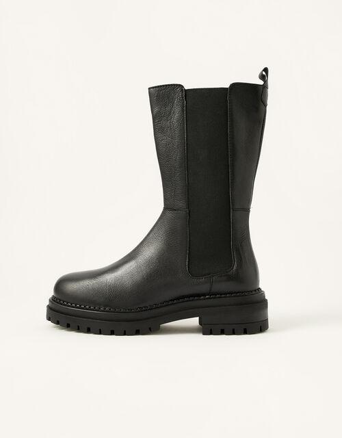 Saphira Stomper Leather Boots, Black (BLACK), large