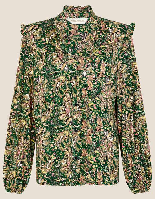Paisley Print Jersey Shirt, Green (GREEN), large