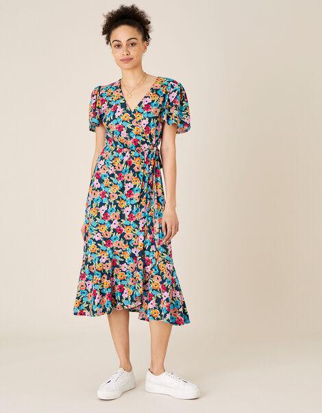 Tallulah Floral Jersey Wrap Dress Teal, Teal (TEAL), large