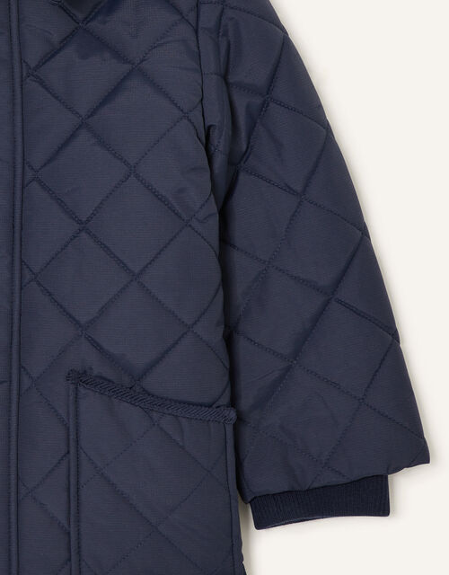 Cord Collar Quilted Coat, Blue (NAVY), large