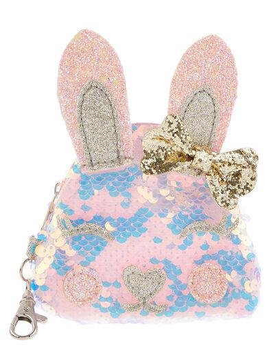 Suzie Sequin Bunny Keyring Purse, , large