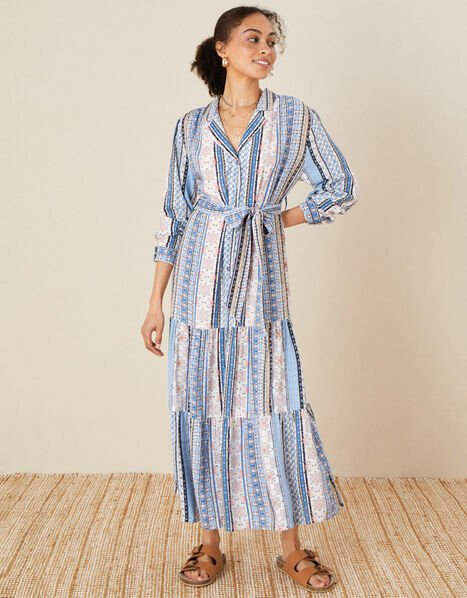 Patch Print Stripe Shirt Dress Blue, Blue (BLUE), large