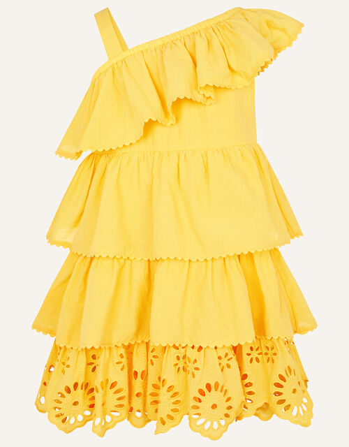 Layered Frill Broderie Dress, Yellow (YELLOW), large