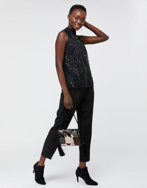 Farrah Sequin Sleeveless Top, Black, large