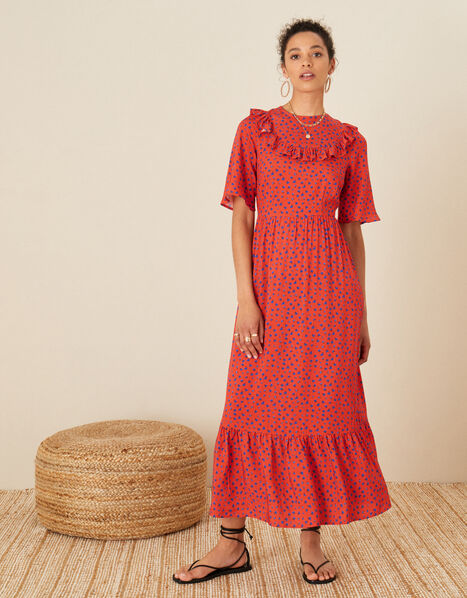 Rhian Frill Bib Printed Dress Red, Red (RED), large