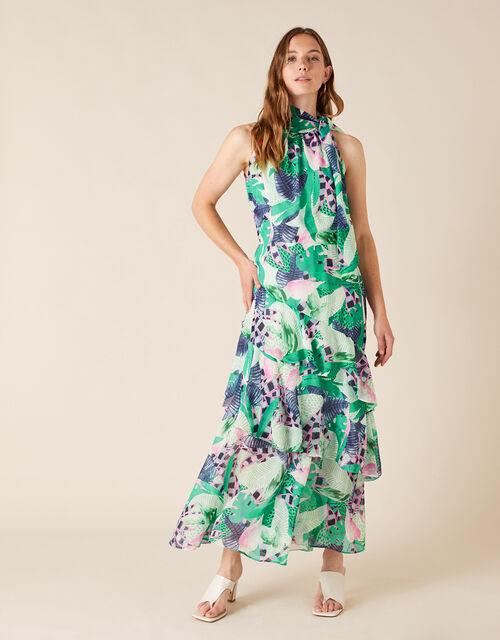 Printed Chiffon Maxi Dress, Green (GREEN), large