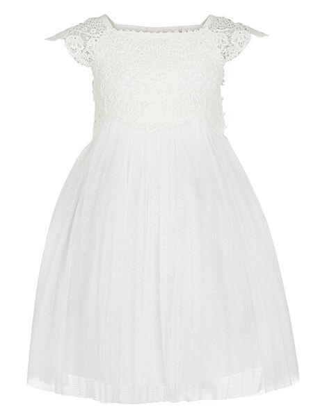 Baby Estella Crochet Bodice Occasion Dress Ivory, Ivory (IVORY), large
