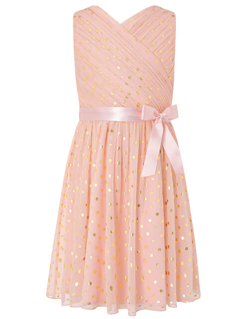 Mabel Gold Spot Wrap Dress, Pink (PINK), large
