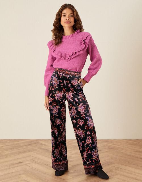 Paisley Print Velvet Trousers, Black (BLACK), large